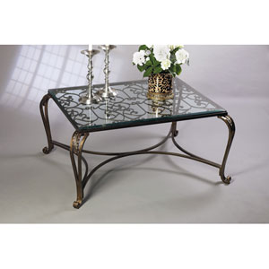 Bronze Acanthus Leaf Coffee Table with Antique Brass Medallions and Beveled Glass