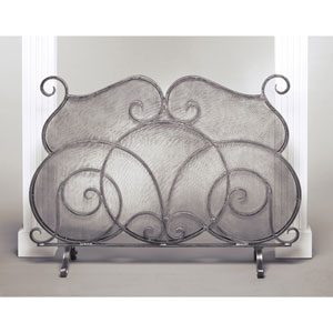 Pewter Firescreen with Mesh Screen