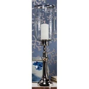 Nickel Column Hurricane with Clear Glass and Rim