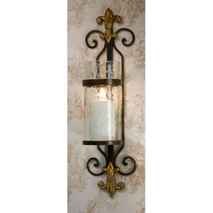 Fleur De Lis Candle Sconce with Rain Glass And Brass Medallion, Set of Two