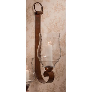Bronze Iron Loop Candle Sconce with Hammered Globe - 29 Inches High
