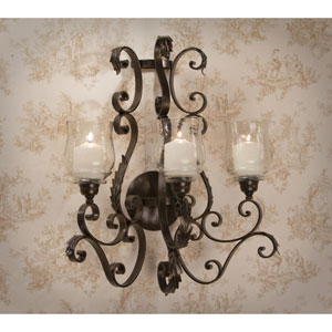 Bronze Iron Three Arm Acanthus Candle Sconce
