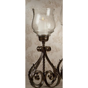 Bronze Iron Acanthus Leaf Hurricane with Hammered Globe - 22 Inches Tall