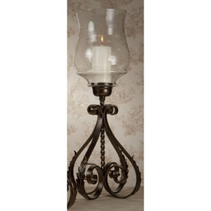 Bronze Iron Acanthus Leaf Hurricane with Hammered Globe - 27 Inches Tall