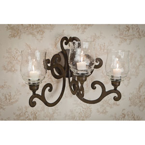 Bronze Three Light Scroll Candle Wall Sconce