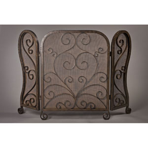 Bronze Mesh Scroll Firescreen - 50 Inches Wide