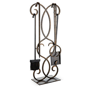 Bronze Scroll Fireplace Tool Set