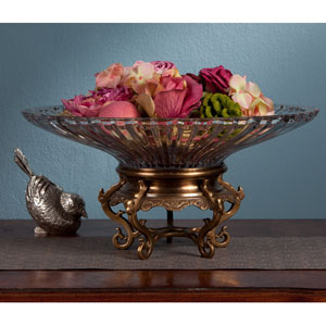 Antique Brass Stand with Crystal Bowl