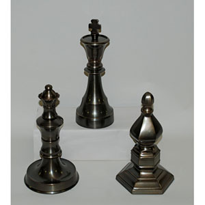 Antique Brass Chess Finials, Set of Three