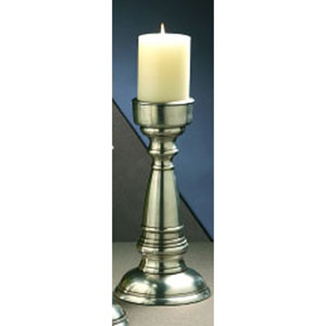 Antique Silver Pillar Candleholder - 12.5 Inches Tall