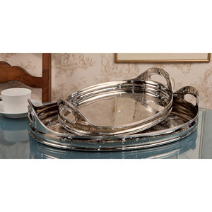 Nickel Tray Oval Etched - 16.5 Inches Size Only