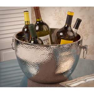 Polished Nickel Aluminum Double Walled Hammered Cooler