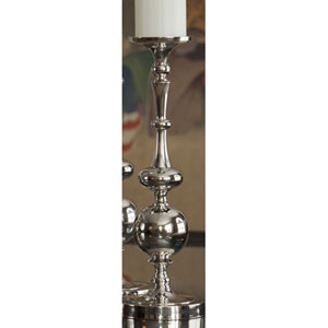 Nickel Pillar Ball Candleholder - 15.5 Inches Tall