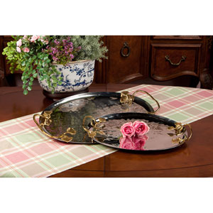 Nickel And Brass Leaf Tray - 23.5 Inches Long Tray Only