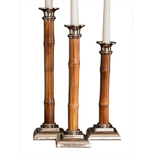 Nickel 16-Inch Tall Candle Holder with Bamboo
