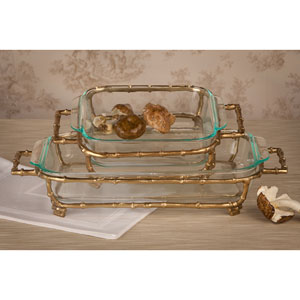 Gold Bamboo Square Pyrex Holder