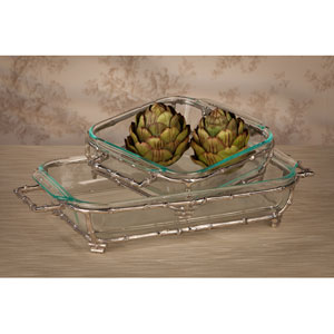 Nickel Bamboo Square Pyrex Holder