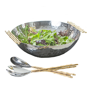 Nickel and Gold Bamboo Handle Bowl