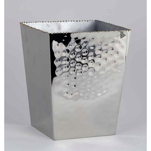 Nickel and Gold Bead Square Waste Bin