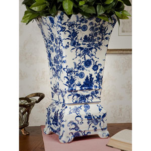 Blue and White Porcelain Planter/Vase