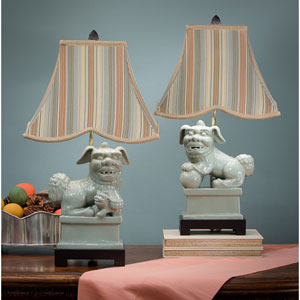 Caledon Foo Dog Lamps with Striped Shade, Set of Two