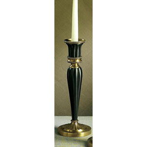 Antique Brass and Black Fluted Candleholder - 12 Inches Tall