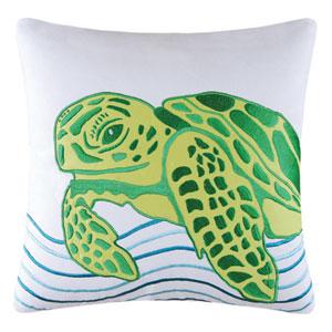 Tropic Escape Green Turtle 18-Inch Decorative Pillow