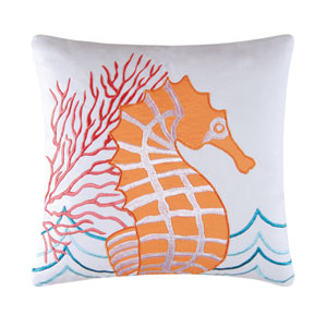 Tropic Escape Orange Seahorse 18-Inch Decorative Pillow