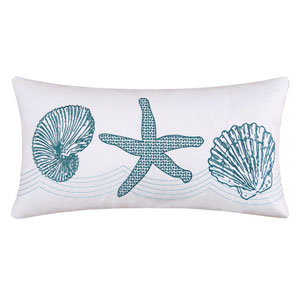 Cora White and Blue 12 x 24-Inch Decorative Pillow