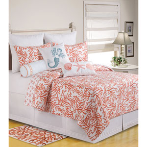 Cora White and Coral Twin Quilt
