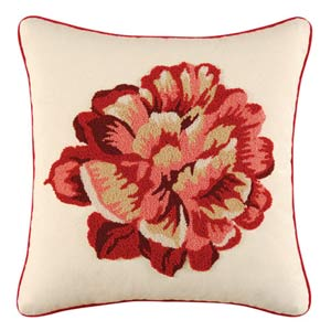Marianna 18 x 18 In Hooked Flower Pillow