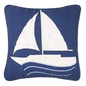 Nantucket Dream 14 x 14 Sailboat Quilt Pillow