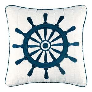 Nantucket Dream 14 x 14 Ship Wheel Quilt Pillow
