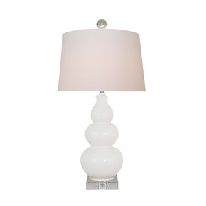 White 22-Inch Gourd Table Lamp
