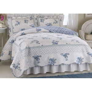 American Traditions Rose Blossom Blue Twin Quilt