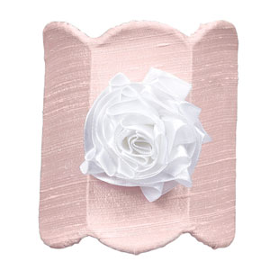 Pink Double Scalloped with White Ribbon Rose Magnet Nightlight