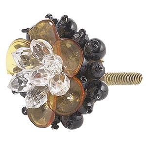 Beaded Flower Black Amber Clear Knob
