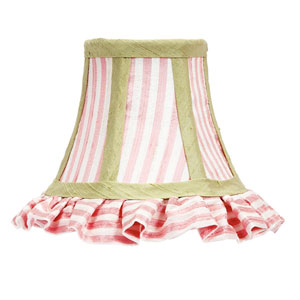 Ruffled Pink and White Stripe with Sage Green Trim Chandelier Shade