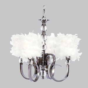 Feather - White Chandelier Shade - Drum Shape