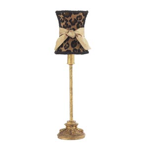 Leaf Scroll Antique Gold Small Table Lamp with Hourglass Leopard with Sash Shade