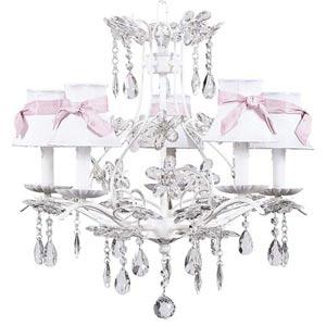 Cinderella White Five-Light Chandelier with Plain White with Sash Chandelier Shades