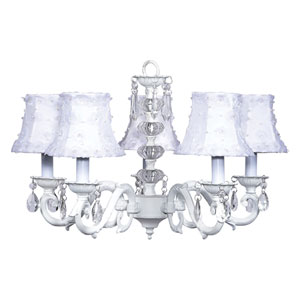 Turret White Five-Light Chandelier with White Petal Shades