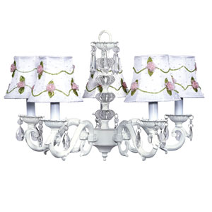 Turret White Five-Light Chandelier with Pink Net Flower Shades