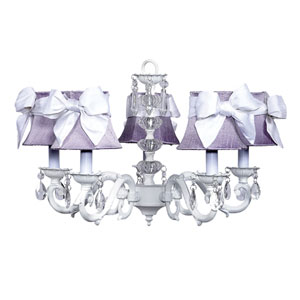 Turret White Five-Light Chandelier with Lavender Shades and White Sashes