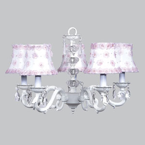 Turret White Five-Light Chandelier with White and Pink Petal Shades