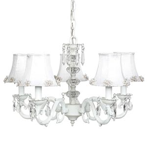 Glass Turret White Five-Light Mini Chandelier with Pearl Burst White Chandelier Shades