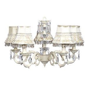 Turret Ivory Five-Light Chandelier with Ivory Skirt Dangle Shades