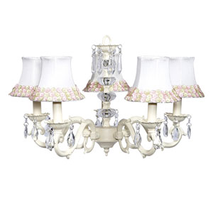 Turret Ivory Five-Light Chandelier with Pink and Green Flower Shades