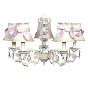 Turret Ivory Five-Light Chandelier with Ivory Shades and Pink Sashes