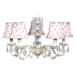 Turret Ivory Five-Light Chandelier with Pearl Dot Shades